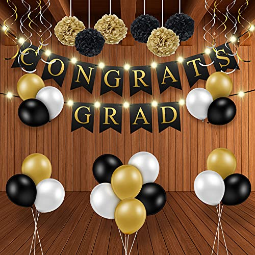 2021 Graduation Party Banner Decorations Including Congrats Grad Garland 10 Feet 30 LEDs String Light 8 Pieces Hanging Swirls 6 Pieces Black and Gold Paper Pom Poms 18 Pieces Latex Balloons for Party