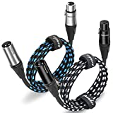 Penker XLR Cable,6ft 2 Pack Microphone Cable, XLR Male to Female Balanced Microphone Cord 3 pin, 6 Foot Short mic Cord,Black & Silver 2 Pack Design for XLR Male to Female