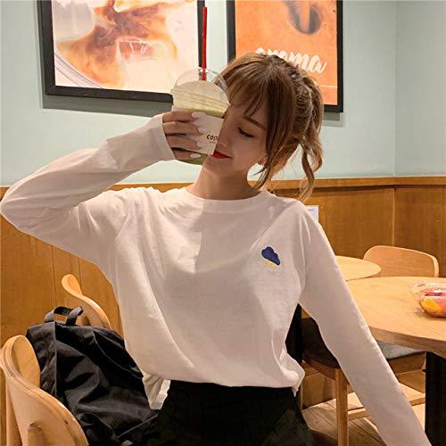 GUOYANGPAI Camisetas Sencillas Sueltas de Color sólido para Todo Tipo de Ocio, Camisetas de Manga Larga con Cuello Redondo para Estudiantes,Mayo 3351 BAI,M