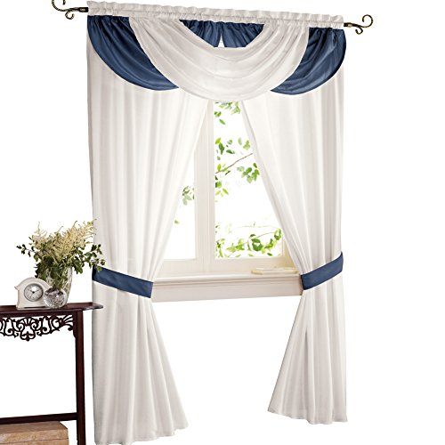 Collections Etc Elegant Patricia Rod Pocket Valance and 2 Panels with Tieback Window Curtain Set, Navy