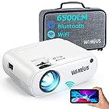 WiMiUS プロジェクター 6500ルーメン フルHD1080P 小型 WiFi画面ミラーリング Bluetooth5.0搭載 収納バッグ ホームシアター 家庭用 WiFi/Bluetooth/USB/HDMI/AV/VGA対応 SWITCH/パソコン/IOS/Android/DVDなど接続可能