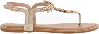 Women's T-Strap Gem Stone Leaf Accent Thong Sandal with Adjustable Buckle