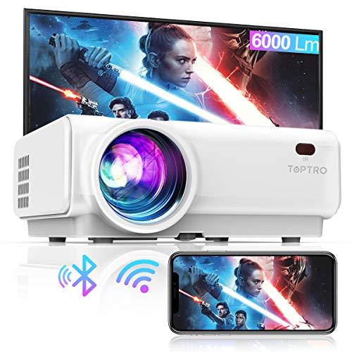 Vidéoprojecteur WiFi, TOPTRO 6000 Lumens Bluetooth Mini Projecteur Portable Soutien Full HD 1080P Rétroprojecteur Home Cinéma, Zoom X Y, Contraste 9000:1, LED 60000 Heures