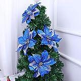 IMIKEYA Poinsettia Glitter de Navidad Adornos de Poinsettia de árbol de Navidad Flores Artificiales para Decoraciones de Boda de Navidad 4pcs (Azul)