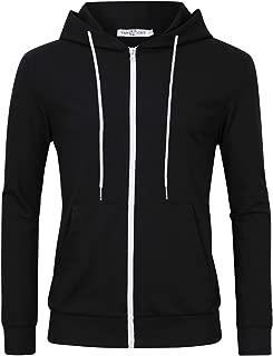 Men's Slim Fit Long Sleeve Lightweight Zip up Hoodie Hooded Sweatshirts with Kanga Pocket