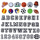 49pcs Letters and Numbers Sports Ball Style Shoe Charms for Clog Shoes Wristband Bracelet Party Gifts