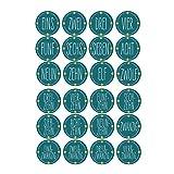 240 unidades de calendario de Adviento de Navidad, 24 números de pastilla adhesivos, cuenta atrás hasta regalo de Navidad, paquete de etiquetas para decoración del hogar y la oficina