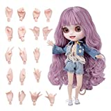 XSHION 1/6 BJD Doll is Similar to Blythe Doll, 4-Color Changing Eyes Matte Face 12 Inch 19 Ball Jointed Doll, Customized Doll with Body, Pink Wig, Clothes, Replaceable Hands