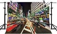 HiYash 10x7ft 東京市の夜景誕生日パーティー赤ちゃんの誕生日の装飾バナー美しい記憶記録ビニール素材スタジオ小道具の多目的な背景とアートワークの