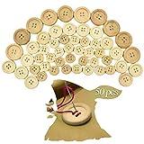 cococity 50 Stück Knöpfe Holz Runde Holzknöpfe Natur Kleidung Deko Handarbeit in 3 Größen 4 Löcher Knopf für DIY Handwerk Nähen und Basteln