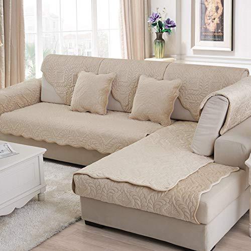 Jonist Funda de sofá de Felpa, Funda de sofá Antideslizante de Color sólido, Elegante, Simple, Todo Incluido, Universal, cojín de sofá de Franela para Invierno-b 110x180cm (43x71inch)