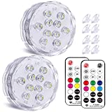 Qoolife Magnetic Dual Waterproof Submersible LED Light with Suction Cup, Remote (RF) - 3.3' RGBW Colorful Underwater Light for Pool Pond Hot Tub Fountain Jacuzzi Bathtub Party Décor Aquarium (2-Pack)