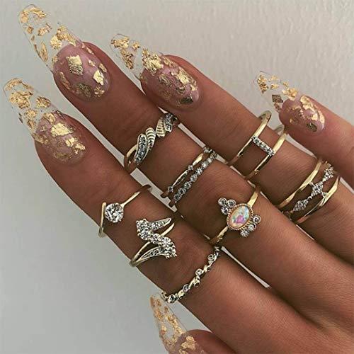 Yean Boho Crystal Ring Set Goud Gezamenlijke Knuckle Ring Verklaring ringen met parel voor Vrouwen en Meisjes (9St)