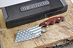 8.25 Inch Overall, Blade made of 3CR13 Stainless Steel. Blade Thickness 4 MM. Blade Length 4.25 Inch, Blade Print Proud Of America Flag 4 Inch Wood Handle. Full Tang Handle. Includes Nylon Sheath