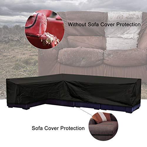 ESSORT L-Form Abdeckung für Gartenmöbel , L Form Schutzhülle Wasserdicht Sofa Abdeckung Schutz vor Staub und verlängert die Lebensdauer von Möbeln - 3