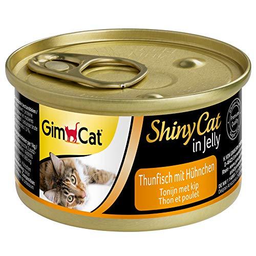 GimCat ShinyCat in Jelly, atún con pollo - Alimento húmedo para gatos, con pescado y taurina - 24 latas (24 x 70 g)