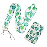 Cactus Key Lanyard for Women Cute, Premium Soft Fabric Neck Lanyard with ID Badge Holder, Metal Clasp - Green Plant Designs Badge Lanyard
