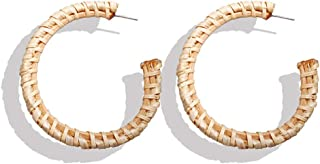 1 paio Rattan orecchini a cerchio in tessuto paglia a mano cerchio orecchini di goccia Bohemian leggero Sutd Ear
