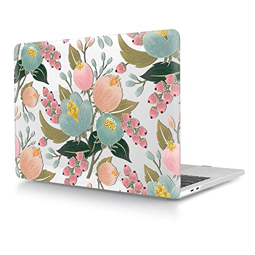 HRH Hand Painted Flower Bud Clear Glossy Design Laptop Body Shell Protective Hard Case for MacBook Newest Air 13\' Inch with Retina Display fit Fingerprint Touch ID (Model A1932,2018 Release)