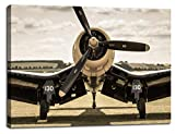 Wall Decor Canvas Art Propeller Aircraft Pictures for Living Room Artwork Retro Vintage World War II Airplane Poster Historical Military Painting Bedroom Decorations Ready to Hang(20''Wx28''H)