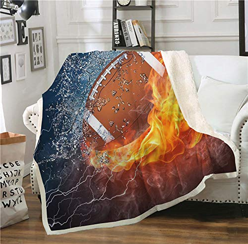 Eubbasic Giftable American Football Printed Sherpa Fleece Throw Sports Blanket Available in Youth and Adult Size