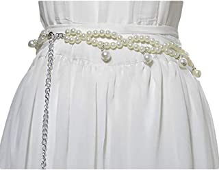 Ladies pearl waist inlaid fashion sweet thin belt (Color : A, Size : 115cm)