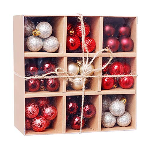 Sdoveb 99Pcs Christmas Ball Baubles Party Xmas Tree Decorations Hanging Ornament Decor (Red)