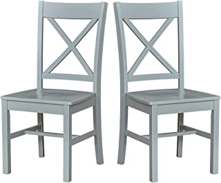 Ravenna Home Solid Pine Dining Chair with Cutout Back, 38