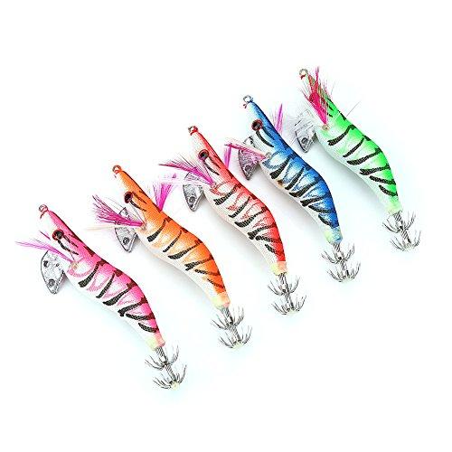 5pcs Artificiali Esche da Pesca Calamaro, Polipo, Seppia, Gambero con Ganci a Doppio Strato per Pesca di Notte