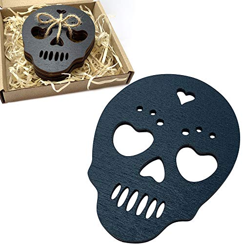 Marolen Black Skull Wooden Coasters - This Spooky Gothic Decor Includes 4 Sugar Skull Coasters - Great for Witchy Home Decor Lovers or as Halloween Decorations Indoor
