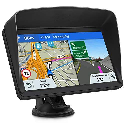 GPS Navi Navigationsgeräte für Auto, Navigation für Auto LKW PKW Touchscreen 7 Zoll 8G 256M Sprachführung Blitzerwarnung mit POI,2020 Europa UK 48 Karten(kostenloses Karte-Update)