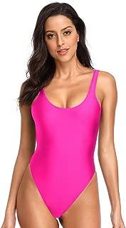 Women's Retro 80s/90s Inspired High Cut Low Back One Piece Swimwear Bathing Suits