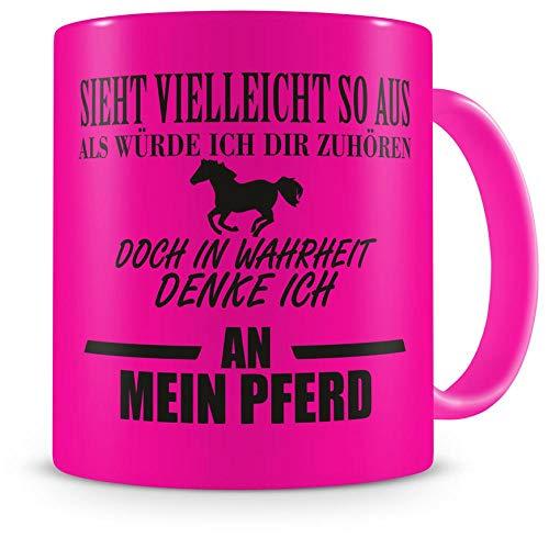 Samunshi® Ich denke an mein Pferd Tasse Kaffeetasse Teetasse Kaffeepott Kaffeebecher Becher Nr.5: neon pink/schwarz 300ml