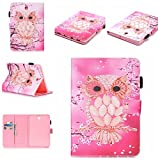 Wallace Elec Galaxy Tab S2 8.0 Case, Premium Hybrid Synthetic Leather Kickstand Case with [Card Slots/Money Holder] [Stylus Loop] Cover for Samsung Galaxy Tab S2 8.0 SM-T715/T710/T713, Pink Owl