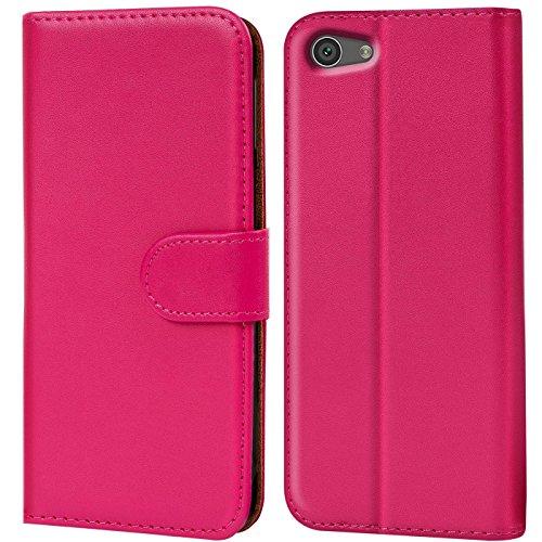 Verco Xperia Z5 Compact Hülle, Handyhülle für Sony Xperia Z5 Compact Tasche PU Leder Flip Hülle Brieftasche - Pink