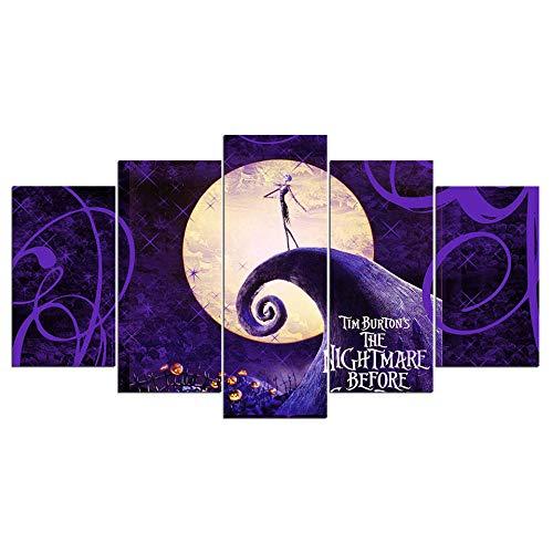 ZNNHERO Cuadro sobre Lienzo HD 5 Piezas de Arte de la Lona La Pesadilla Antes de Navidad Poster Pictures Halloween Wall Decor Impresiones en Lienzo