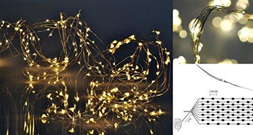 matrasa Leuchtdraht Lichtdraht 100/200/300 LED - Tropfen Micro Lichterkette Silberdraht IP44 - innen & aussen (100 LED)