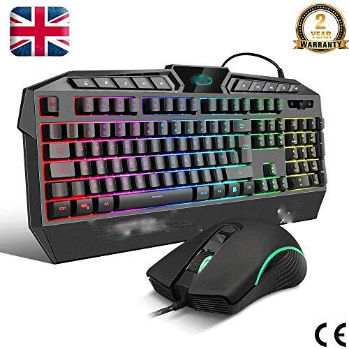 Gaming Toetsenbord En Muis Combo(UK Layout) RGB Backlit USB Bedraad Toetsenbord En 6 Kleuren Ademen LED Muis Voor PS4 PC Laptop