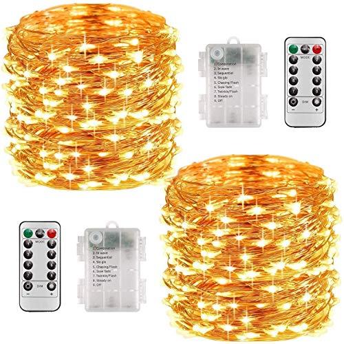 [2 Stück]LED Lichterkette Batterie,10M 100LEDs 8 Modi Micro Lichterkette ,Wasserdichte Schutzart IP67,für Schlafzimmer Weihnachten Außen Innen Party Hochzeit Garten Dekoration