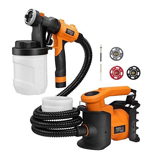 TACKLIFE 800W Elektro Lackierpistole,1100 ml/min, Farbsprühsystem 3 Düsengrößen, 3 Spritzmuster für DIY und Dekoration- SGP16AC