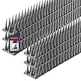KADAX Vogelabwehr aus Kunststoff, 52 x 4,5 x 3,5 cm, Tierabwehr, 3-reihig, Spikes für Katze, Marder, Taube, Zaun, Fensterbank, Dach, Taubenabwehr, Vogelschutz, robust (6, Silber)