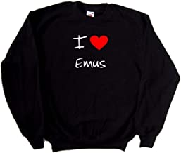 I Love Heart Emus Black Sweatshirt