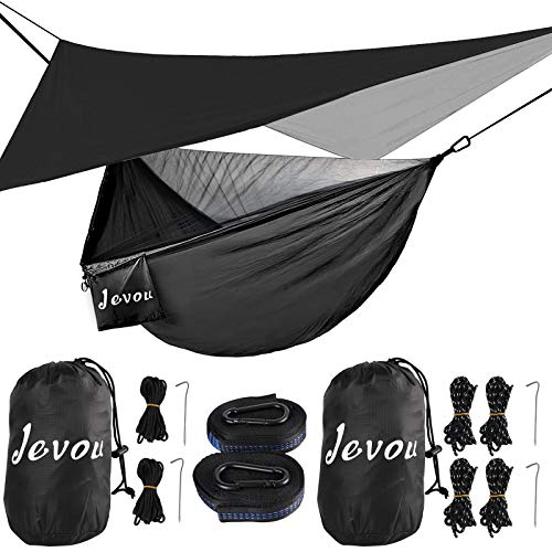 Hammock, Camping Hammock with Bug Net and Rainfly Tarp, Double and Single Portable Nylon Parachute Hammock Tent for Indoor, Outdoor, Travel, Camping, Backyard, Beach (Hold Up to 772lbs)