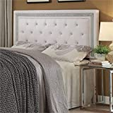 Pemberly Row Faux Leather Full Queen Panel Headboard in White