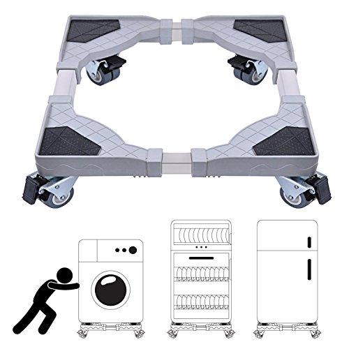 DEWEL Einstellbare Beweglich Waschmaschine-Sockel mit 4 set Gummi-Schwenkräder für Kühlschrank und Trockner(Einstellbare Größe:Breite 45 cm-58 cm, Länge 50 cm-60 cm)