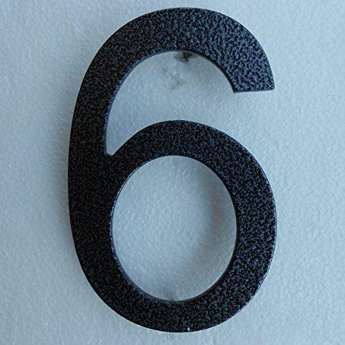 Hausnummer aus Stahl lackiert in Anthrazit / Schwarz Hammerschlagoptik (Zahl 6 oder 9, Anthrazit)