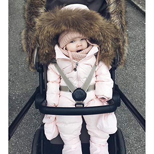 Easong Baby Boys Girls Snowsuit Quilted Pramsuit Faux Fur Hooded Romper Winter Jumpsuit Zipper Front Pram Coat Cotton Outfits Footless Jumpsuit Sleepsuits Pink