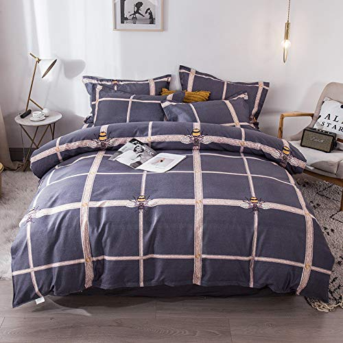 unknow Bed Sheets, Four-Piece Brushed Thick Pure Cotton, Bed Linen, Pillowcase And Bedding, Stylish And Simple Three-Piece Set