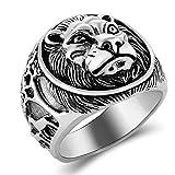 Beydodo Silber 925 Herren Ring Siegelring Löwe mit Giraffen Punk Ring Silber Partnerring Große 58 (18.5)