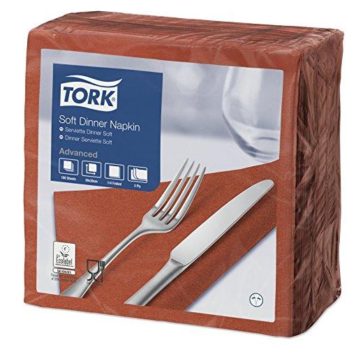 Tork 477601 Soft Dinnerservietten Terracotta / Papierservietten 3 lagig / Ideale Qualität und Größe für ein Abendessen / Advanced Qualität / 12 x 100 (1200) Servietten / 39 x 39 cm (B x L)